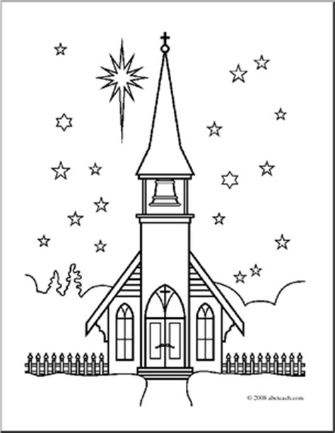 christian winter coloring pages church scene in winter coloring page b w abcteach