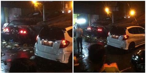Bmw Putih Ini Tabrak Warung hindari kecelakaan dua mobil tabrak warung di setiabudi