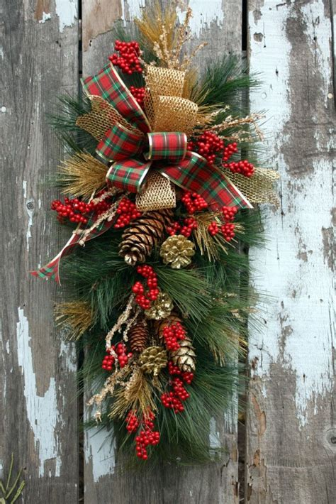images of christmas swags christmas swag plaid and gold ribbon gold pinecones icy
