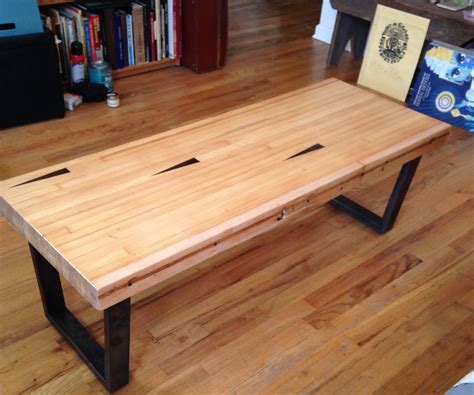 coffee table from reclaimed bowling alley for a non