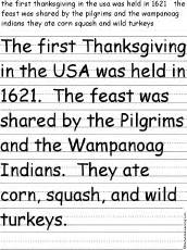 paragraph about thanksgiving thanksgiving writing worksheets enchantedlearning com
