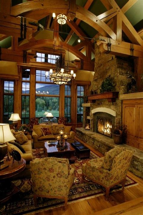 lodge living room rustic lodge living room with fireplace my home pinterest