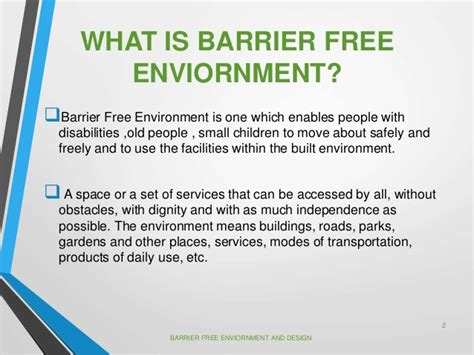 design barrier meaning barrier free enviornment and design