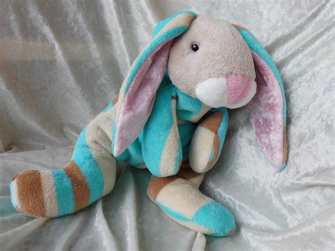 Handmade Stuffed Bunny - handmade bunny plush in playsuit cuddly bunny in