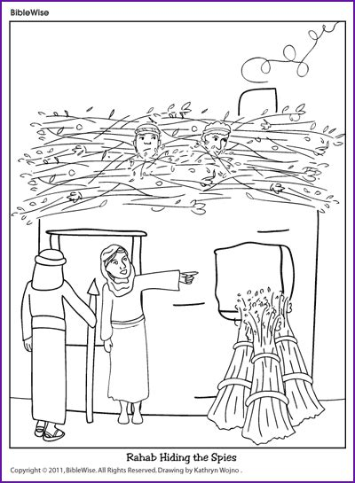 Coloring Page 12 Spies by Coloring Rahab Hiding The Spies Korner Biblewise