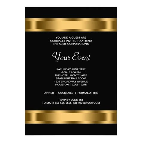 business invitation card templates free black gold black corporate invitation templates