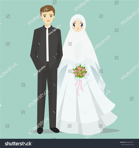 Muslimah Wedding Vector by Muslim Groom Illustration Stock Vector