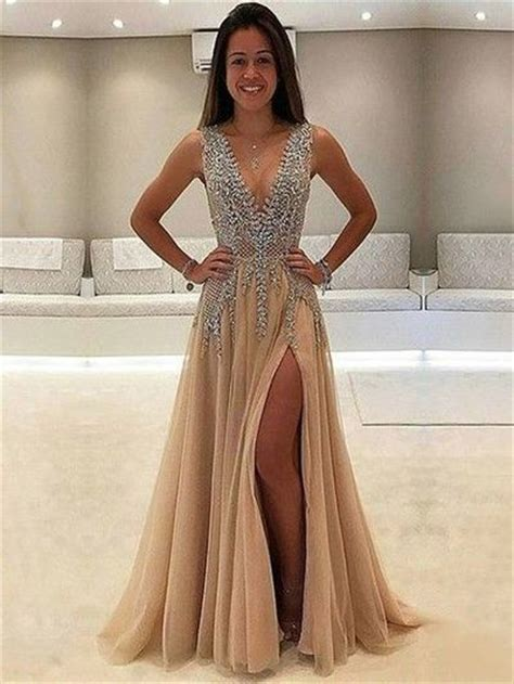 Vo Dress Balo chagne v neck sweep split prom dress with