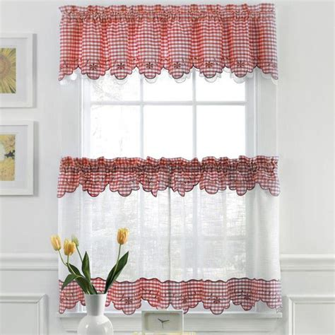Plaid Curtains For Kitchen Plaid Tiers Sheer Kitchen Curtains Bedbath Store Rv Plaid And Valances