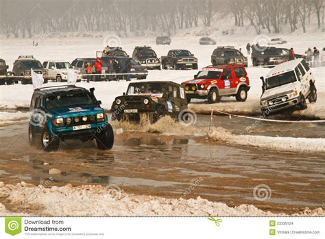 prerunner race offroad race cars in the river on road racing editorial