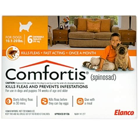 spinosad for dogs comfortis 270mg for cats 6 1 12 lbs dogs 10 20 lbs 6 pack orange vetdepot