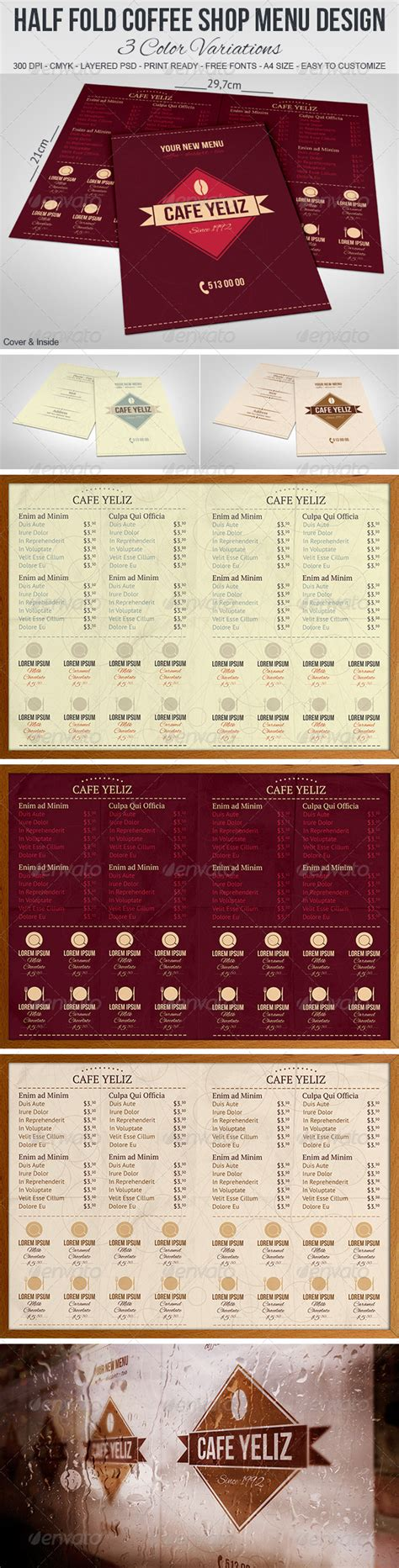 half fold menu template half fold coffee shop menu design graphicriver