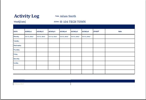 Activity Log Ms Excel Editable Printable Template Document Templates Activity Templates