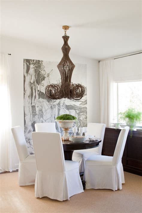 Dining Room Next To Breakfast Nook Baroque Parsons Chair Slipcovers In Dining Room Eclectic