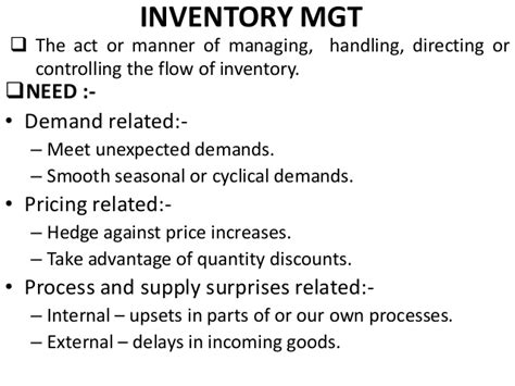Advantages Of Pgdm Mba by Inventory Management A Ppt For Pgdm Mba