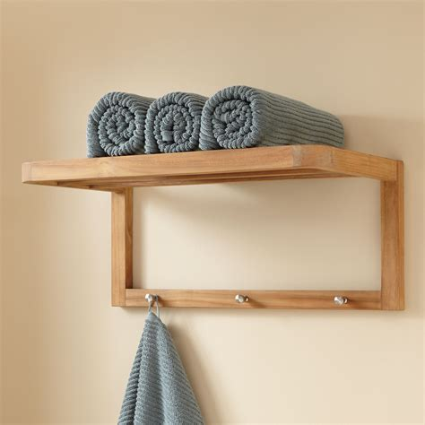 Teak towel shelf with hooks bathroom