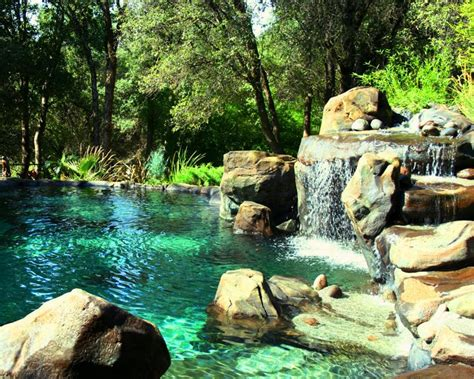 rock waterfalls for pools pool landscape pool design waterfall island natural rock