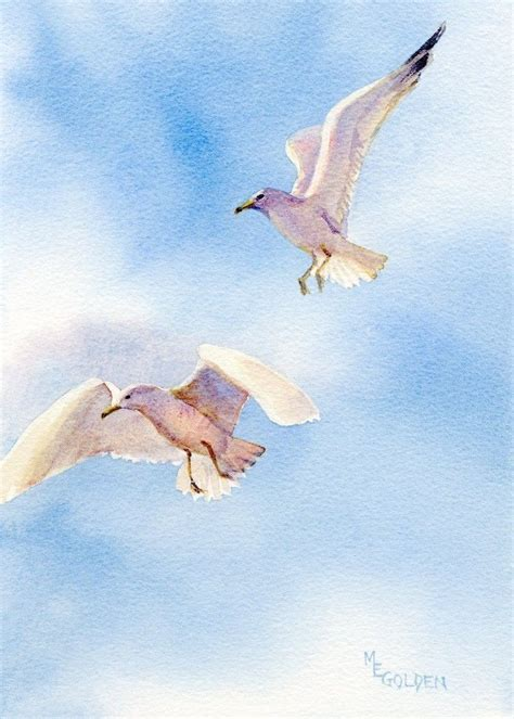 painting the sea people and birds with watercolor basics flight of seagulls in midair the golden gallery