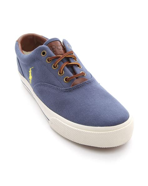 polo ralph vaughn navy canvas sneakers in blue for