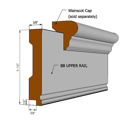 Wainscoting Cap by Bb Rail 8ft I Elite Trimworks
