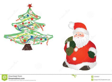 images of christmas tree and santa claus santa claus and christmas tree stock image image 12230661