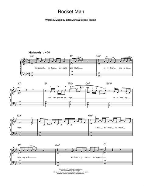 tutorial piano elton john rocket man sheet music by elton john beginner piano 112033