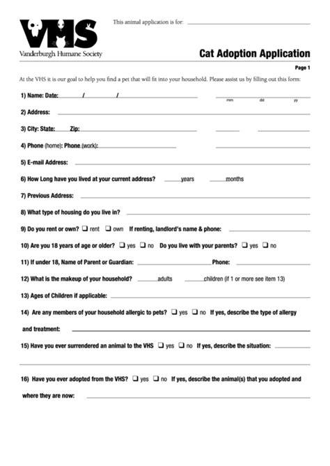 Cat Adoption Application Printable Pdf Download Adoption Form Template