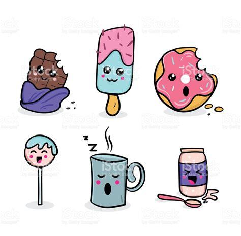 imagenes de comida rapida kawaii set de comida kawaii ilustraciones de personajes kawaii