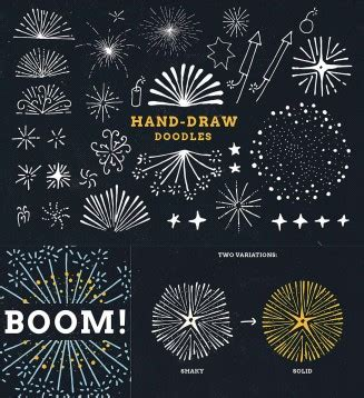 how do you draw a new year fireworks doodles and illustrations vector set free