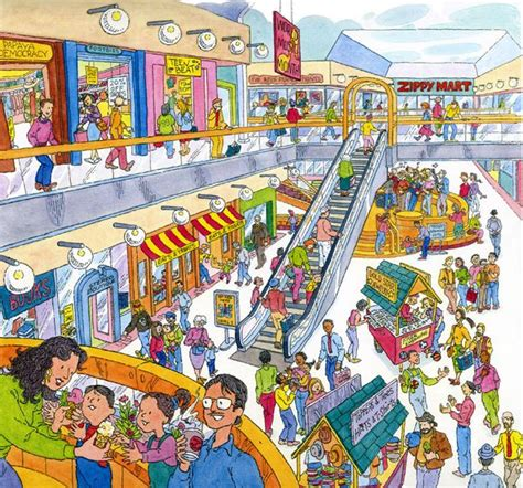 illustration shopping busy day   mall created   cover     books
