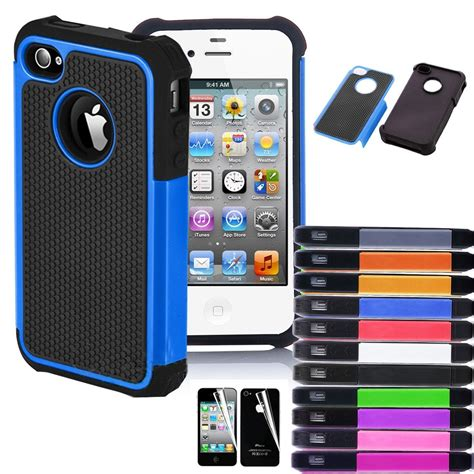 iphone 4 rugged for iphone 4 4s black rugged rubber matte cover w screen protect ebay