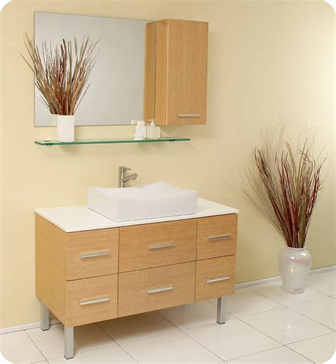 Modern Wood Bathroom Vanity 43 5 Quot Distante Single Vessel Sink Vanity Wood Fvn6123nw Modern Bathroom Vanities