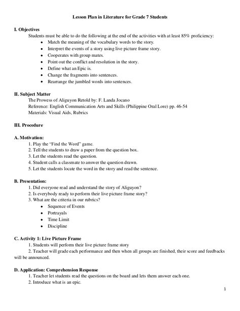 detailed lesson plan template semi detailed lesson plan