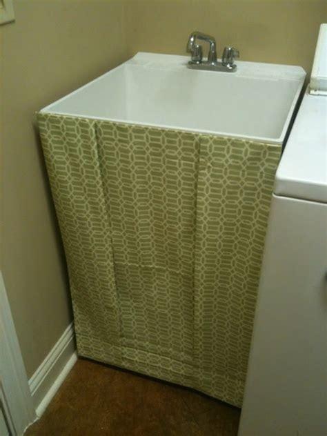 diy bathroom sink skirt hollystyle diy utility sink skirt
