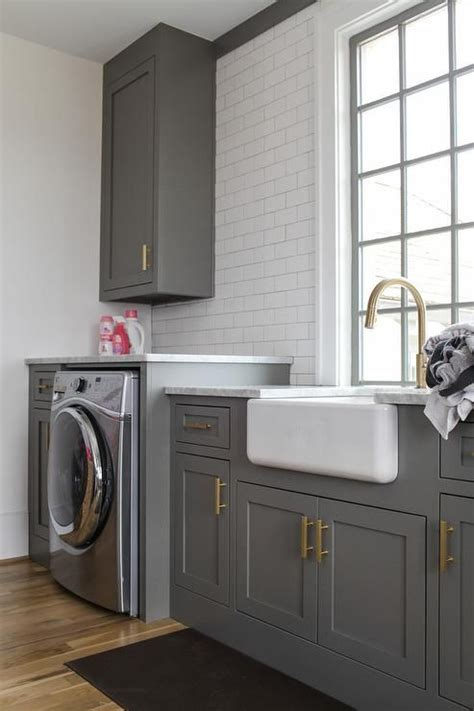 Charcoal Gray Laundry Room Laundry Rooms Mudrooms Gray Laundry