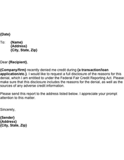 Sle Business Letter Denying Credit Information On Refused Credit Template