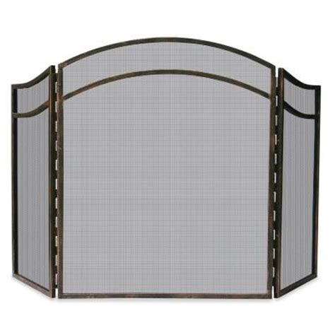 fireplace screen home depot uniflame antique rust wrought iron 3 panel fireplace