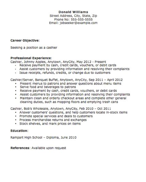 Resume Objective Exles For Cashier Position Cashier Resume The Resume Template Site
