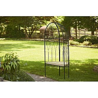 garden oasis metal arbor with bench and cushion outdoor