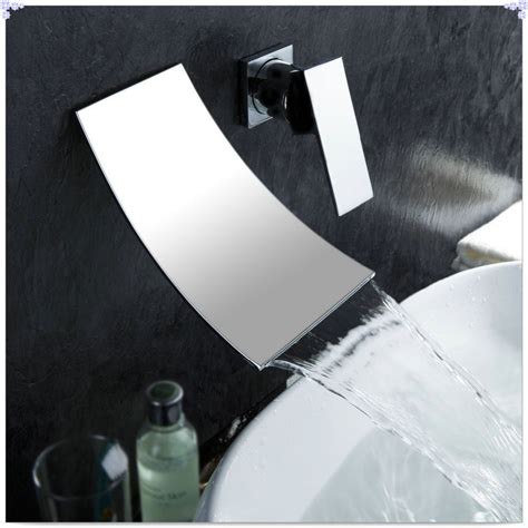 Modern Wall Mounted Bathroom Faucets Contemporary Single Handle Wall Mount Widespread Waterfall