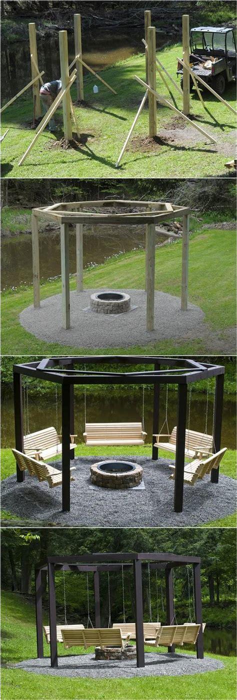 diy backyard pit ideas diy backyard pit with swing seats