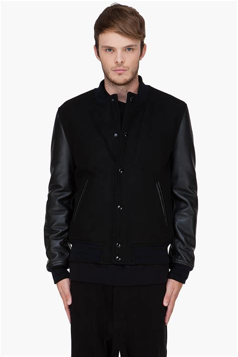 givenchy leather jacket givenchy black leather trim baseball jacket in black for lyst