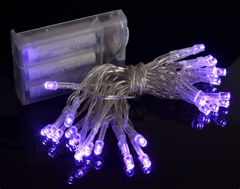 purple led battery powered mini lights