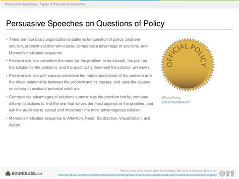 comparative advantages pattern of organization persuasive speaking