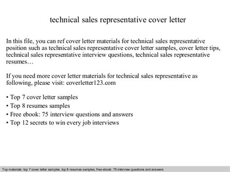 Technical Sales Cover Letter by Technical Sales Representative Cover Letter