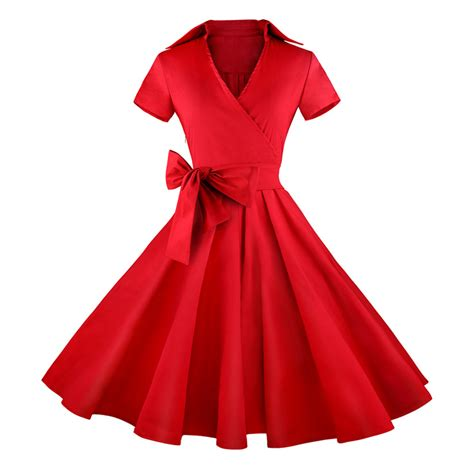 red swing dress vintage vintage red short sleeves swing rockabilly ball party
