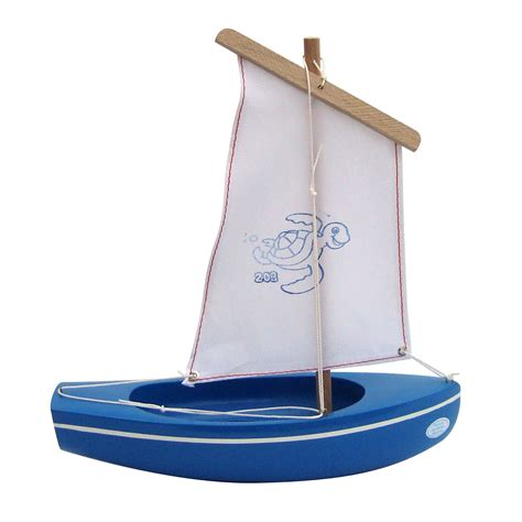 small wooden toy boat wooden toy sailing boat 203 handmade blue wooden sailing