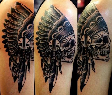 skull headdress tattoo skull indian headdress tattoos