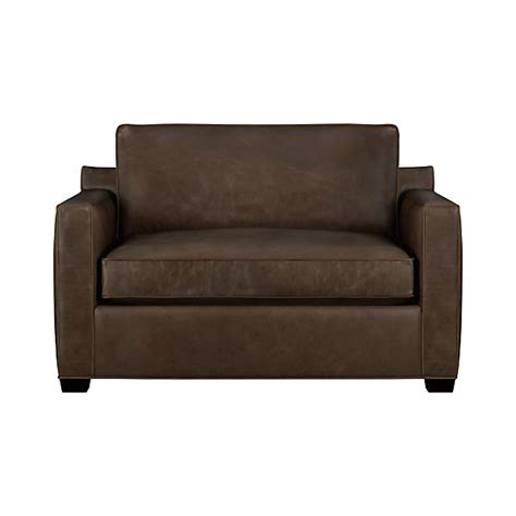 leather loveseat sleeper sofa davis leather twin sleeper sofa cashew crate and barrel
