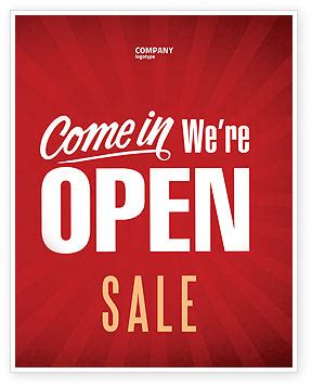 We Are Open Sale Poster Template in Microsoft Word
